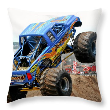 Monster Trucks - Big Things Go Boom Throw Pillow by Christine Till