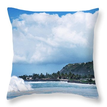 Monster Wave Waimea Bay Throw Pillow by Thomas R Fletcher
