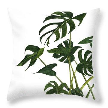 Monstera Bunch  Throw Pillow by Garima Srivastava
