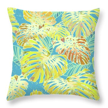 Monstera Jungle In Blue And Gold Throw Pillow