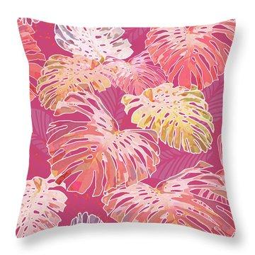 Monstera Jungle On Cerise Throw Pillow