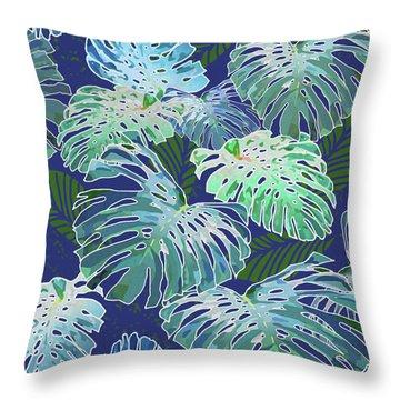Monstera Jungle On Indigo Throw Pillow