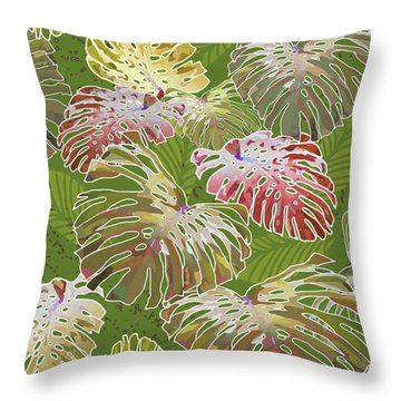 Monstera Jungle On Olive Throw Pillow