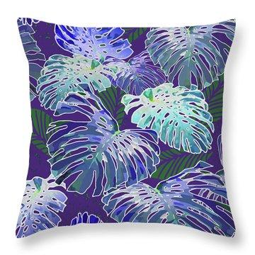 Monstera Jungle On Purple Throw Pillow