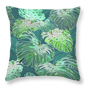 Monstera Jungle Teal Throw Pillow
