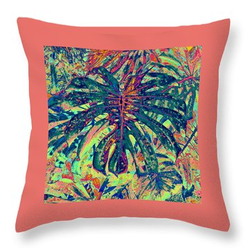 Monstera Leaf Patterns - Square Throw Pillow by Kerri Ligatich