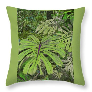 Monstera Leaves - Soft Greens Throw Pillow by Kerri Ligatich
