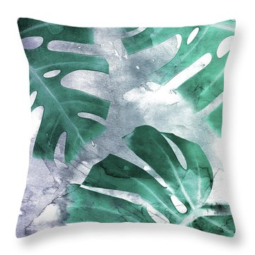 Monstera Theme 1 Throw Pillow by Emanuela Carratoni