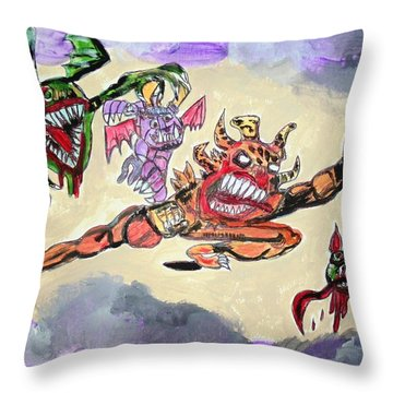 Monsters With Disagreements Throw Pillow