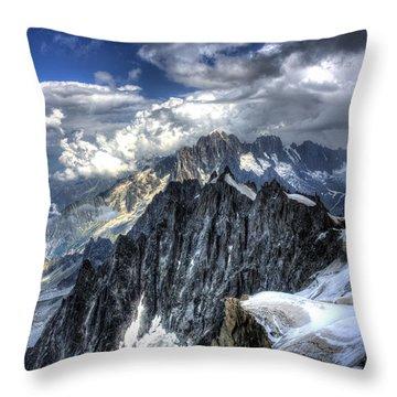 Mont Blanc Near Chamonix In French Alps Throw Pillow