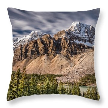 Mont Crowfoot On The Icefield Parkway Throw Pillow