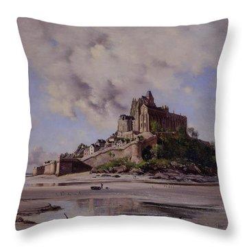 Mont Saint Michel Throw Pillow by Emmanuel Lansyer