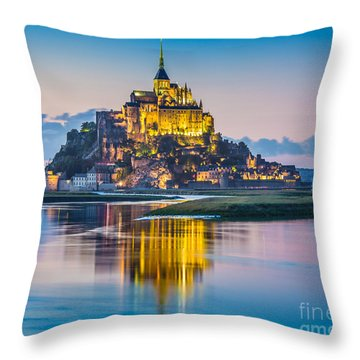 Mont Saint-michel In Twilight Throw Pillow