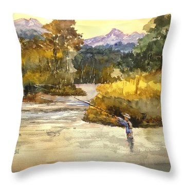 Montana Fly Fishing Throw Pillow