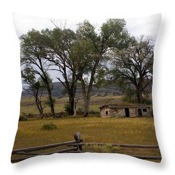 Montana Homestead Throw Pillow by Marty Koch