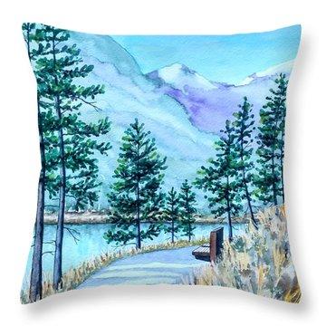 Montana Lake Como With Bench Throw Pillow