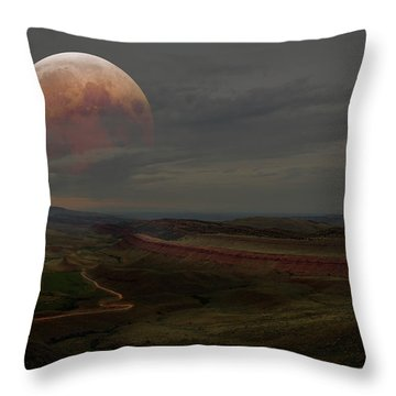 Montana Landscape On Blood Moon Throw Pillow