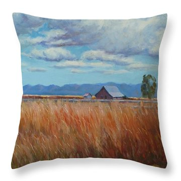 Montana Prairie In The Fall Throw Pillow