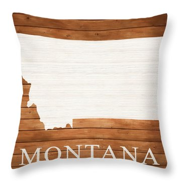 Montana Rustic Map On Wood Throw Pillow