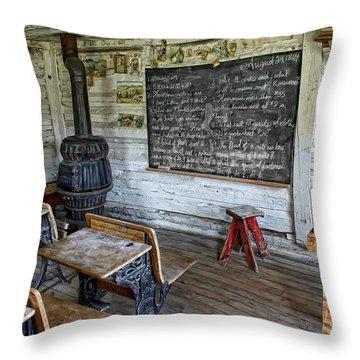 Montana School Lesson August 29 1864 Throw Pillow by Daniel Hagerman