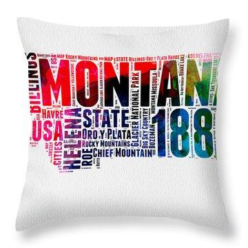 Montana Watercolor Word Cloud  Throw Pillow