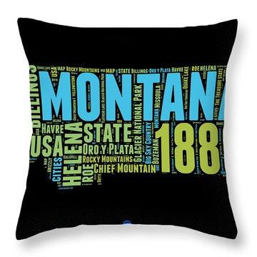 Montana Word Cloud 1 Throw Pillow