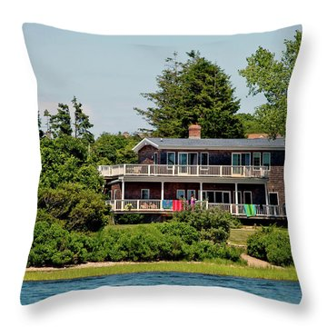 Throw Pillow featuring the photograph Montauk Beach Towels by Art Block Collections