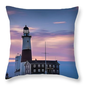 Montauk Lighthousepastel  Sunrise Throw Pillow