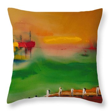 Montauk Marina Throw Pillow