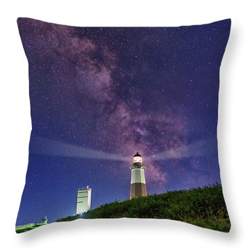 Montauk Point And The Milky Way Throw Pillow by Rick Berk
