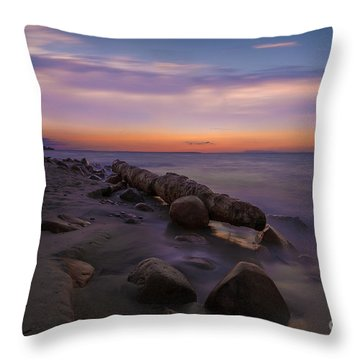 Montauk Sunset Boulders Throw Pillow