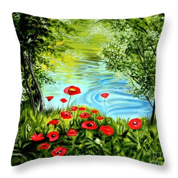 Throw Pillow featuring the painting Monte Rio Poppies by Elizabeth Robinette Tyndall