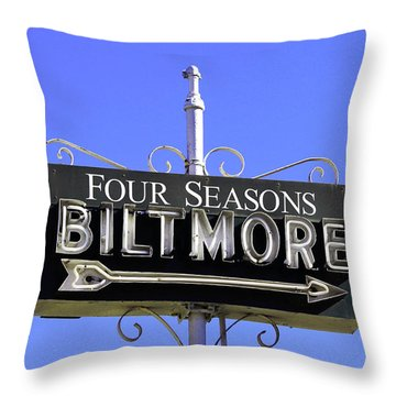 Throw Pillow featuring the photograph Montecitio Biltmore Sign by Art Block Collections