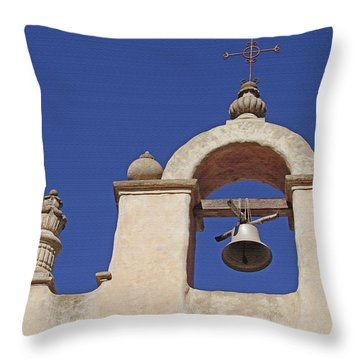 Throw Pillow featuring the photograph Montecito Mt. Carmel Church Tower by Art Block Collections