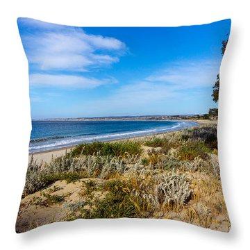 Monterey Beach And Flora Throw Pillow