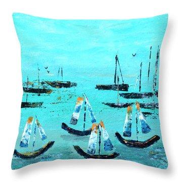 Monterey Boats Throw Pillow