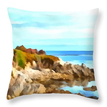 Throw Pillow featuring the photograph Monterey Coastline Watercolor by Floyd Snyder