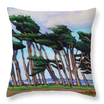 Monterey Cypress Row  Throw Pillow
