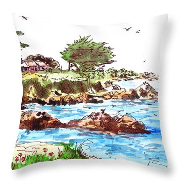 Throw Pillow featuring the painting Monterey Shore by Irina Sztukowski