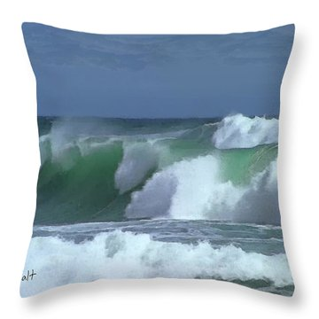 Monterey Surf Throw Pillow by Walter Chamberlain