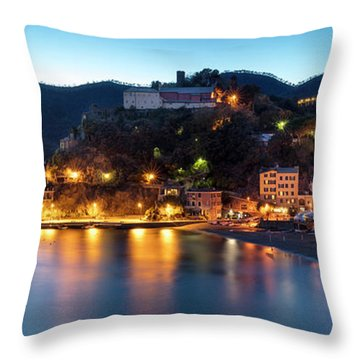 Throw Pillow featuring the photograph Monterosso Al Mare At Twilight by Brian Jannsen