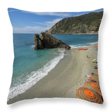 Monterosso Beach Day Throw Pillow