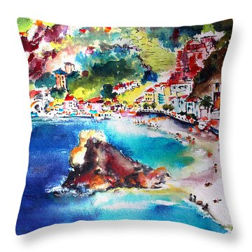 Throw Pillow featuring the painting Monterosso  Cinque Terre Italy  by Ginette Callaway