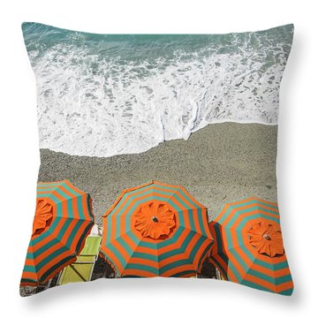Monterosso Umbrellas Throw Pillow
