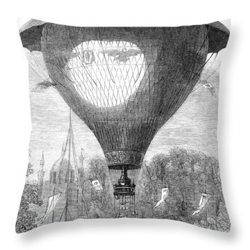 Montgolfier Balloon, 1864 Throw Pillow by Granger