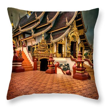 Throw Pillow featuring the photograph Monthian Temple Chiang Mai  by Adrian Evans