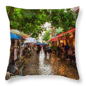 Throw Pillow featuring the photograph Montmartre Art Market, Paris by Carl Amoth