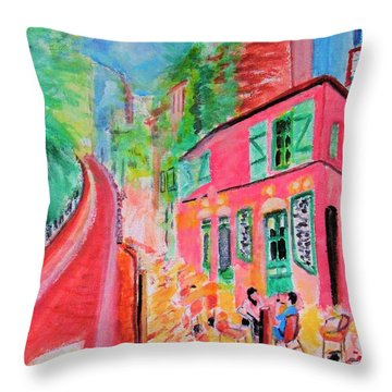 Montmartre Cafe In Paris Throw Pillow