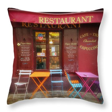 Montmartre Restaurant Throw Pillow