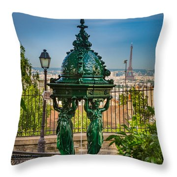 Montmartre Wallace Fountain Throw Pillow by Inge Johnsson